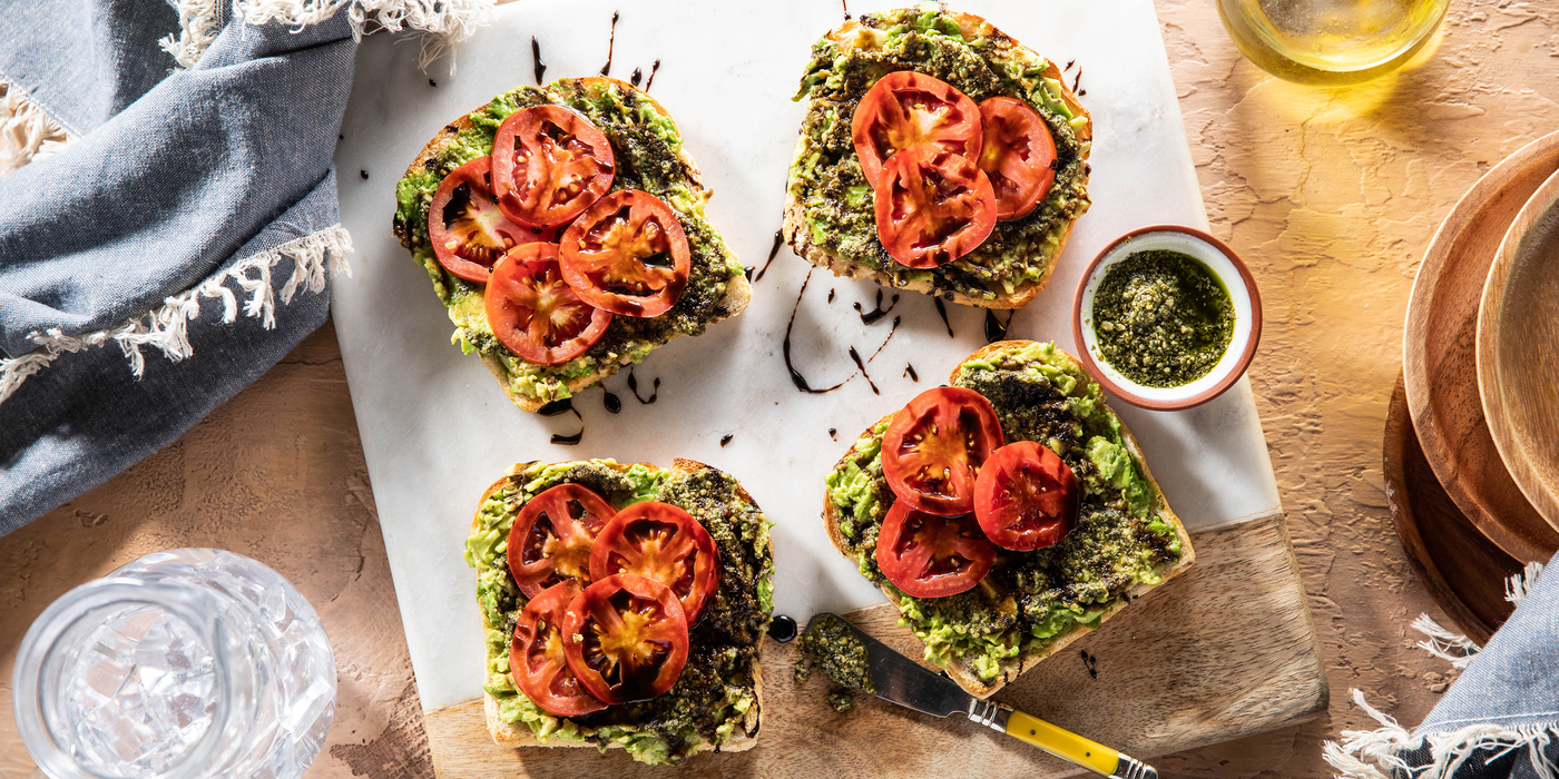 Avocado Toasts with Fresh Tomatoes & Basil Pesto