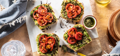 Avocado Toasts with Fresh Tomatoes & Basil Pesto