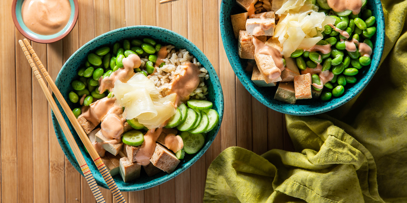 Sushi Bowls with Teriyaki Tofu & Pickled Ginger