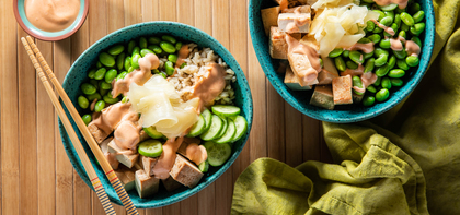 Sushi Bowls with Teriyaki Tofu & Pickled Ginger