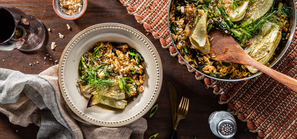 Roasted Fennel Steaks with Saffron Coconut Rice & Greens