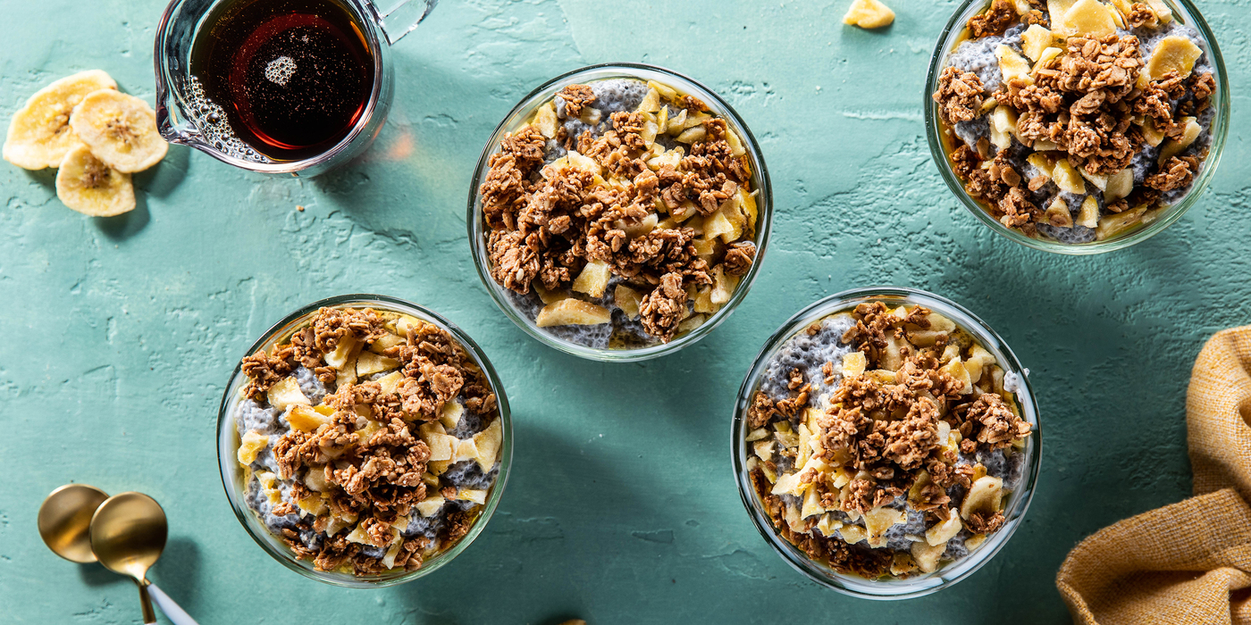 Bananas Foster Chia Pudding with Ancient Grain Granola