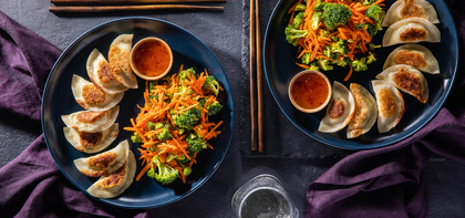 Tofu Edamame Dumplings with Broccoli Slaw & Sweet Chile Sauce