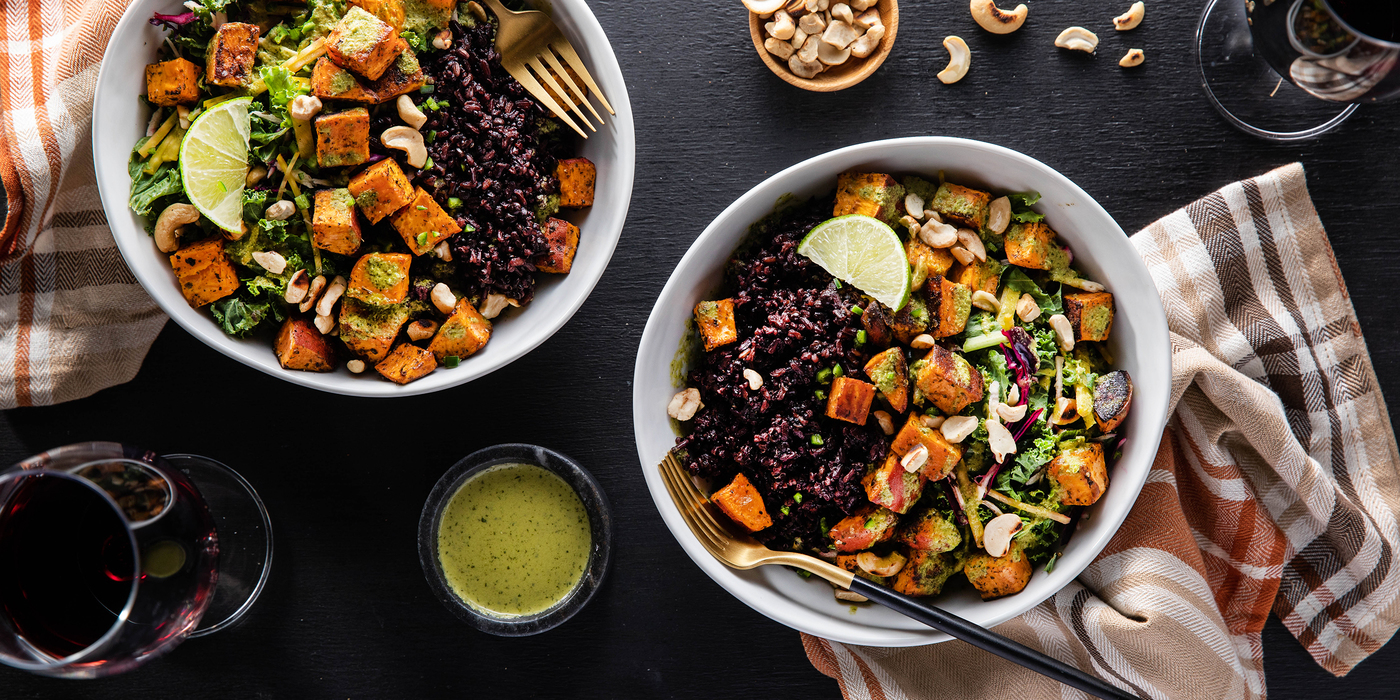 Sweet Potato Bowls with Midnight Grains & Spicy Green Dressing