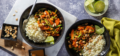 Peanut Tempeh Stir Fry with Gingered Lime Cauliflower Rice