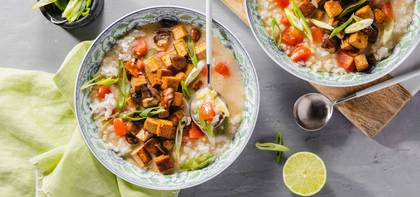 Thai Lemongrass Soup with Crispy Mushrooms & Teriyaki Tofu