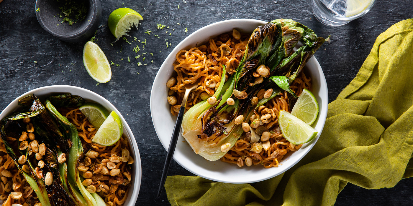 Red Curry Peanut Noodles with Crispy Bok Choy & Lime Garlic Nuts