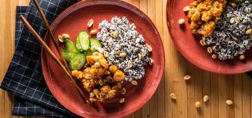 Kung Pao Cauliflower with Garlic Cucumbers & Speckled Rice