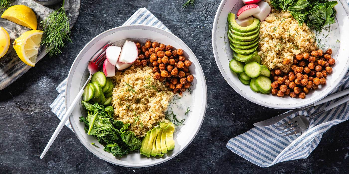 Smoky Chickpea & Kale Bowls with Dill Yogurt & Avocado