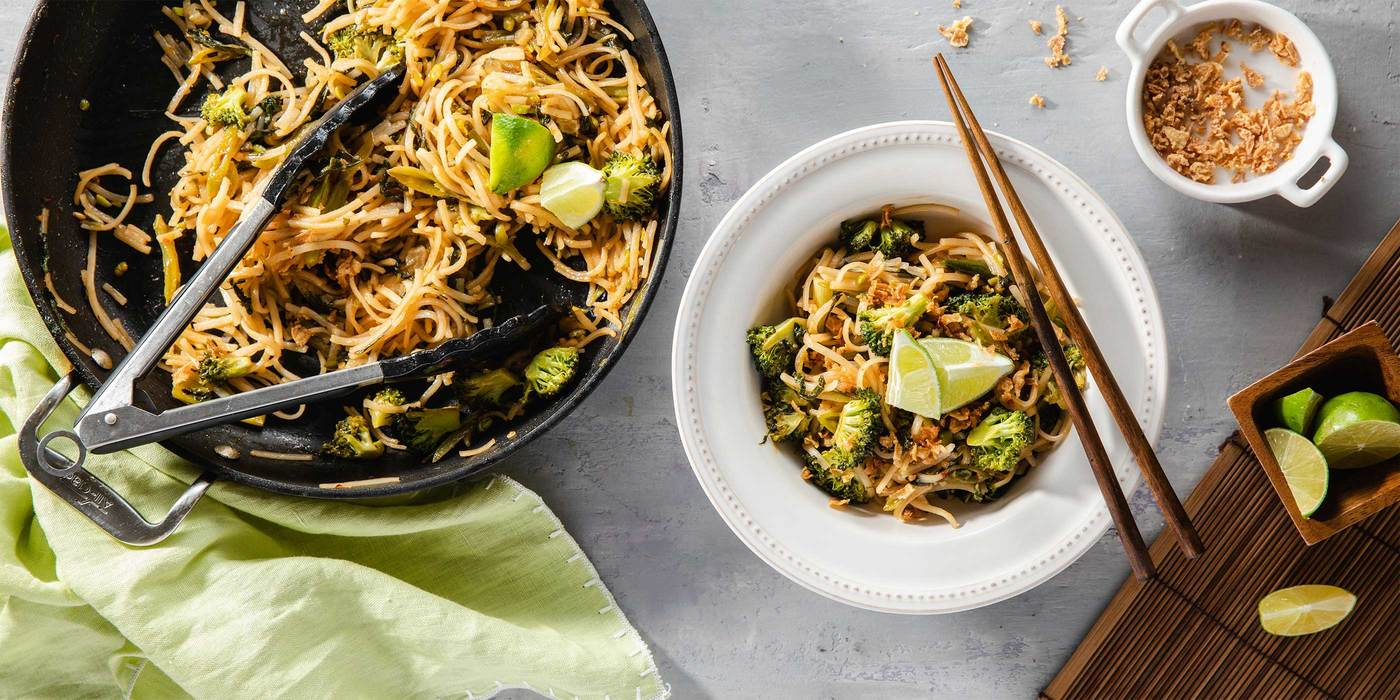 Tamarind Pad Thai with Broccoli & Crispy Onions
