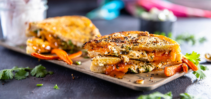 Indian-Style Grilled Cheese with Mango Chutney & Carrot Fries