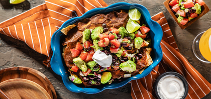 Tofu Mole Enchiladas with Avocado Salsa & Lime Crema