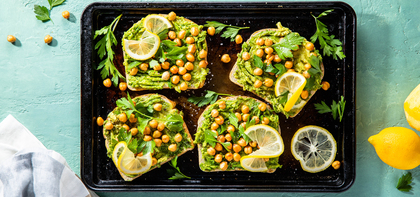 Roasted Chickpea Avocado Toasts with Nutritional Yeast