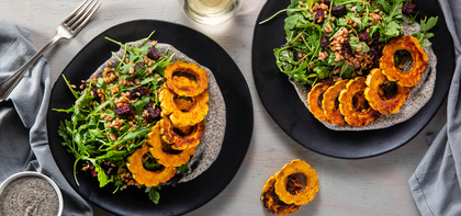 Roasted Delicata Squash with Farro Salad & Cashew Tonnato