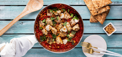 Roasted Red Pepper Shakshuka with Za'atar Tofu & Crispy Shallots