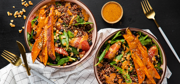 Superfood Bowls with Sweet Potatoes & Ginger Almond Sauce