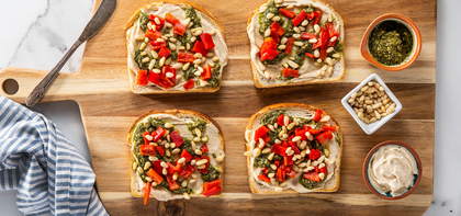 Hummus Toasts with Roasted Red Peppers & Basil Pesto