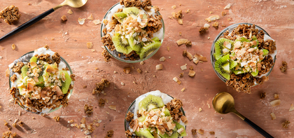 Coconut Chia Puddings with Ancient Grain Granola & Kiwi
