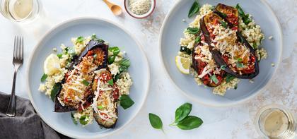 Eggplant Parmesan with Garlicky Tomato Sauce & Lemon Basil Couscous
