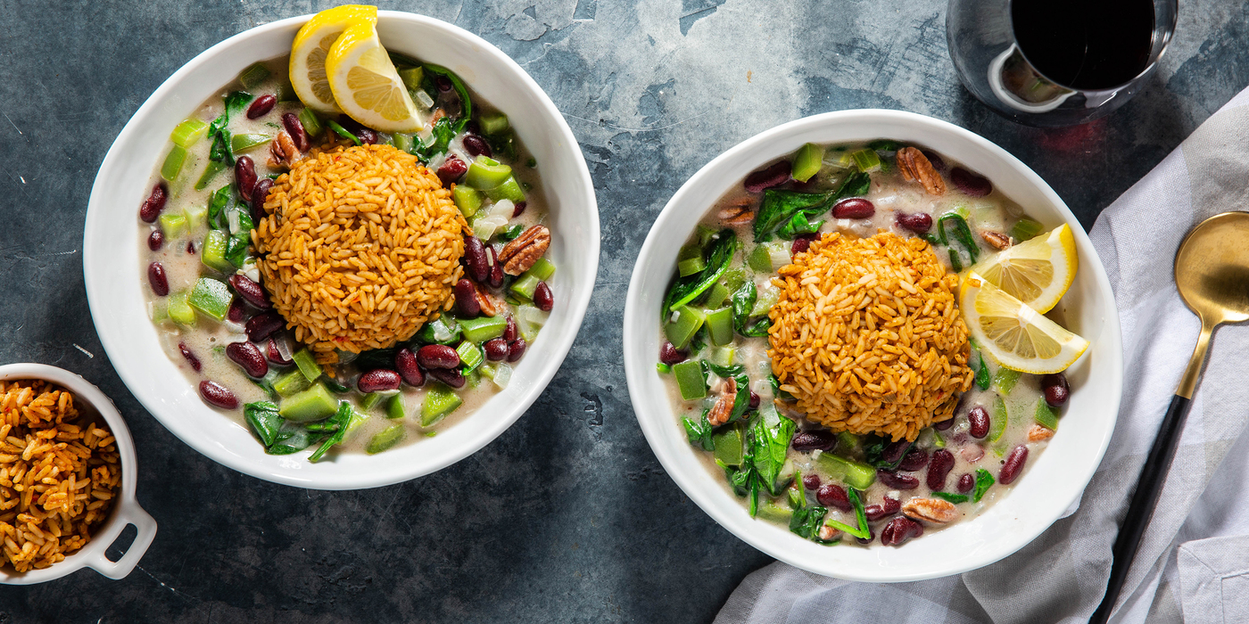 Red Bean Gumbo with Pecans & Dirty Rice