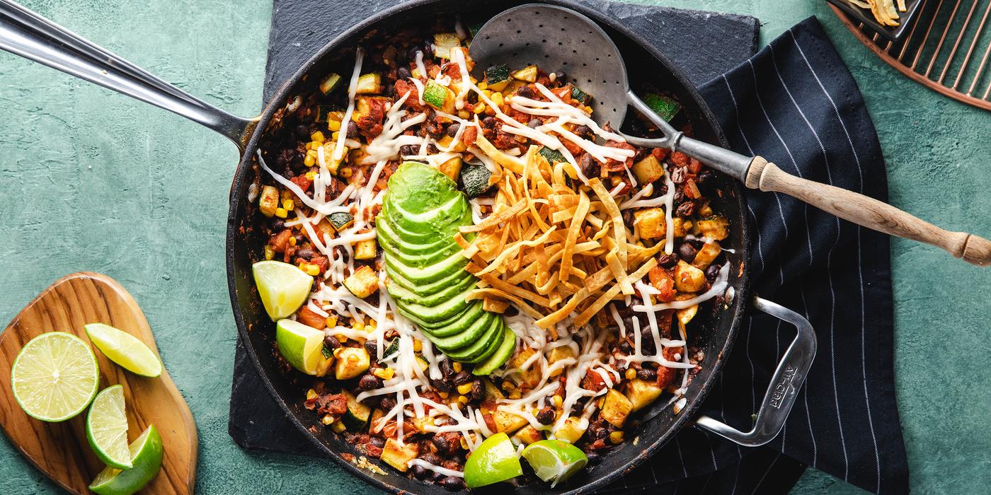 Fiesta Enchilada Skillet with Mole Black Beans & Avocado