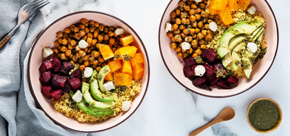 Citrus Beet Bowls with Pesto Vinaigrette & Crispy Chickpeas