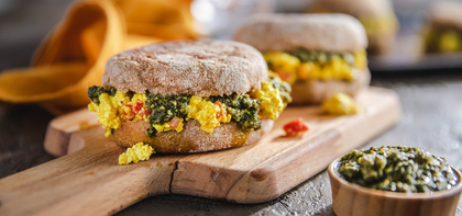 Tofu Egg Sandwiches with Roasted Red Peppers & Basil Pesto