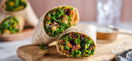 Kale Caesar Wraps with Sun Dried Tomatoes & Multigrain Croutons