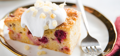 Cranberry Citrus Cake with Coconut Whipped Cream & Crystalized Ginger