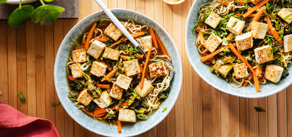 Hot and Sour Soup with Mustard Greens & Crispy Tofu