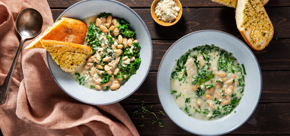 Creamy Braised White Beans with Kale & Herb Garlic Crostini
