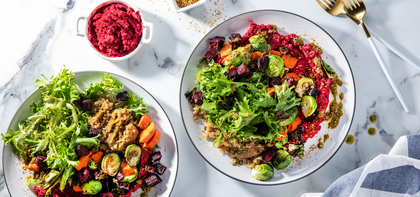 Winter Vegetable Bowls with Beet Hummus & Dukkah Spice