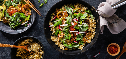 Spicy Sambal Stir-Fry with Bok Choy & Ginger Basil Salad