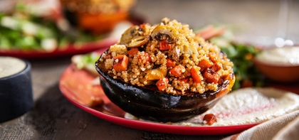 Stuffed Acorn Squash with Apple Quinoa Pilaf & Rosemary Cashew Cream
