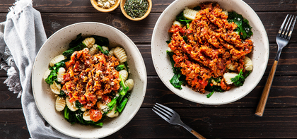 Fire-Roasted Gnocchi Bolognese with Rosemary & Parmesan