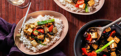 Thai Skillet Eggplant with Crispy Tofu & Coconut Jasmine Rice