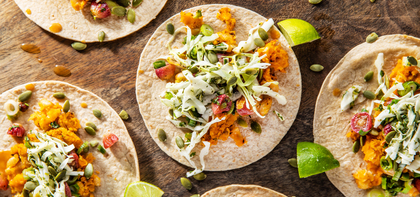 Refried Butternut Tacos with Grape Salsa & Cilantro Cabbage Slaw