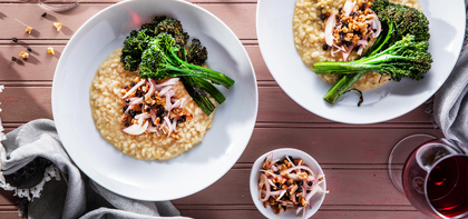 White Lentil Risotto with Broccolini & Walnut Currant Agrodolce