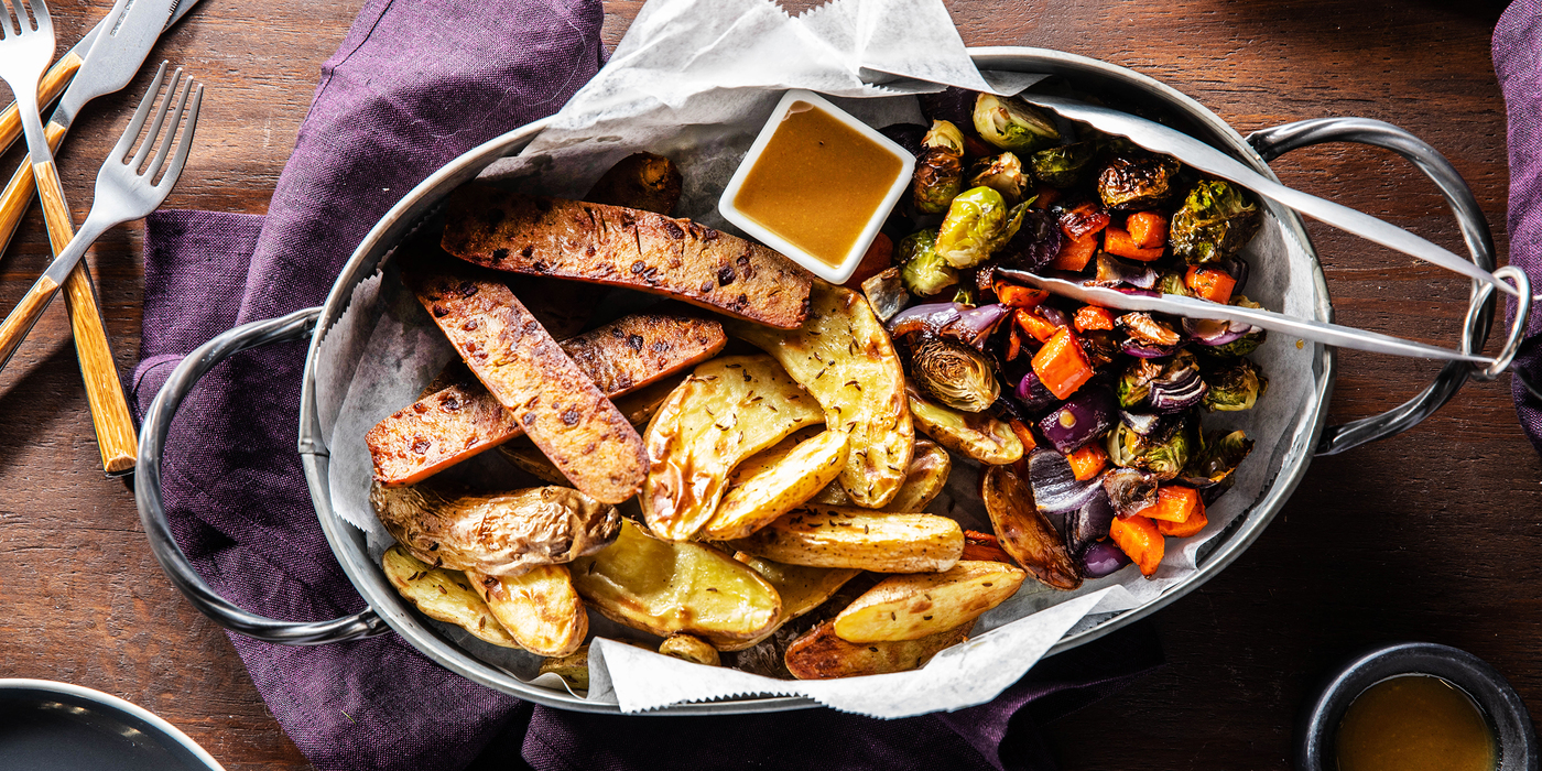 Herb Sausages with Caraway Roasted Potatoes & Maple Mustard Dressing
