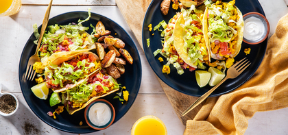 Tofu Scramble Tacos with Roasted Pico de Gallo & Chimichurri Potatoes