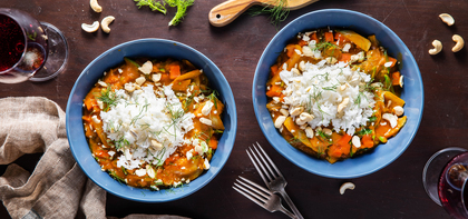 Pumpkin Coconut Curry with Fennel & Jasmine Rice