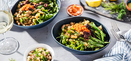 Mezze Bowls with Marinated White Beans & Red Pepper Pesto