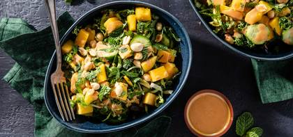 Kale Salads with Fresh Mint & Spicy Peanut Dressing