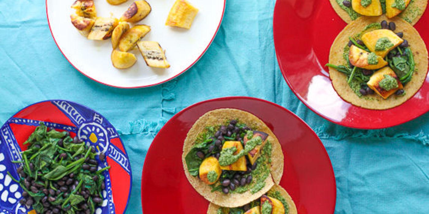 Plantain Tostadas with Black Beans, Spinach & Chimichurri Sauce