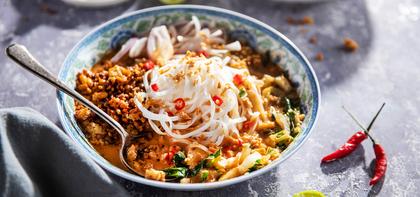 Tempeh Khao Soi with Bok Choy & Crispy Onions