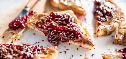 Almond Butter Toasts with Raspberry Preserves & Flaxseeds