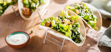Caesar Salad Tacos with Multigrain Croutons & Nutritional Yeast