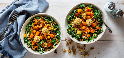 Roasted Butternut & Kale Bowls with Crunchy Chickpeas & Apricot Vinaigrette