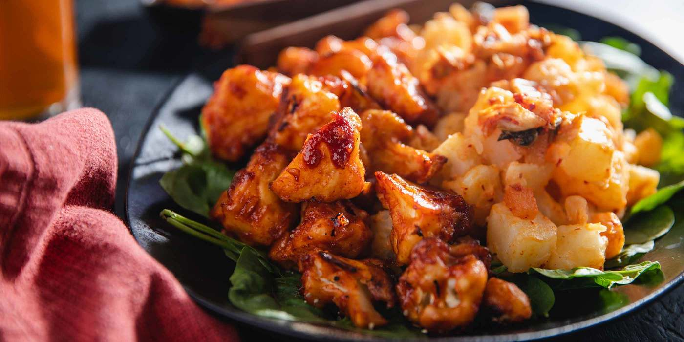 Korean BBQ Cauliflower Wings with Kimchi Potato Salad
