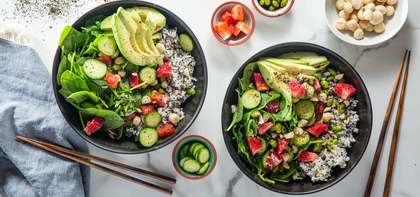 Blood Orange Poke Bowls with Quinoa Speckled Rice & Sea Lettuce Dressing